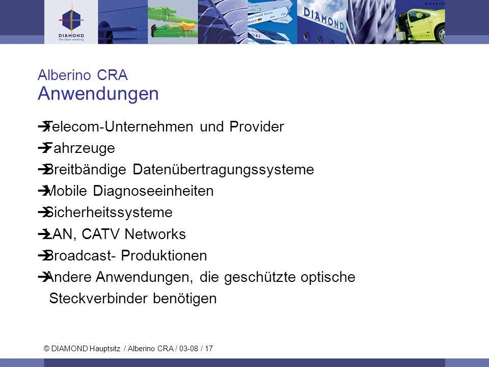 © DIAMOND SA / 11-06 / 17 © DIAMOND Hauptsitz / Alberino CRA / 03-08 / 17 Alberino CRA Anwendungen Telecom-Unternehmen und Provider Fahrzeuge Breitbän