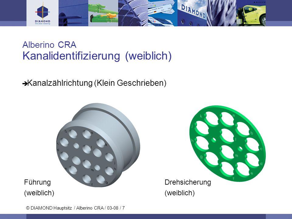 © DIAMOND SA / 11-06 / 7 © DIAMOND Hauptsitz / Alberino CRA / 03-08 / 7 Alberino CRA Kanalidentifizierung (weiblich) Kanalzählrichtung (Klein Geschrie