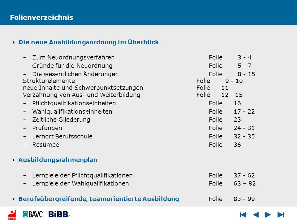 Folienverzeichnis Die neue Ausbildungsordnung im Überblick –Zum NeuordnungsverfahrenFolie 3 - 4 –Gründe für die NeuordnungFolie 5 - 7 –Die wesentliche