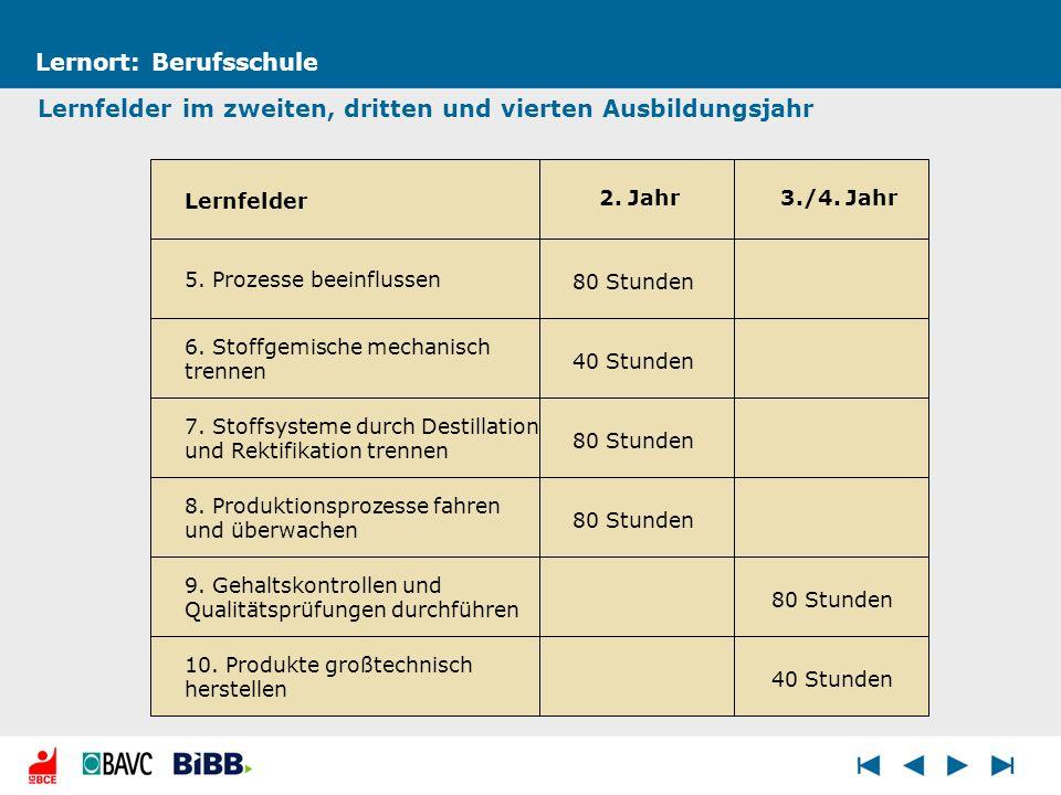 80 Stunden 40 Stunden 80 Stunden Lernort: Berufsschule Lernfelder im zweiten, dritten und vierten Ausbildungsjahr 5. Prozesse beeinflussen 6. Stoffgem