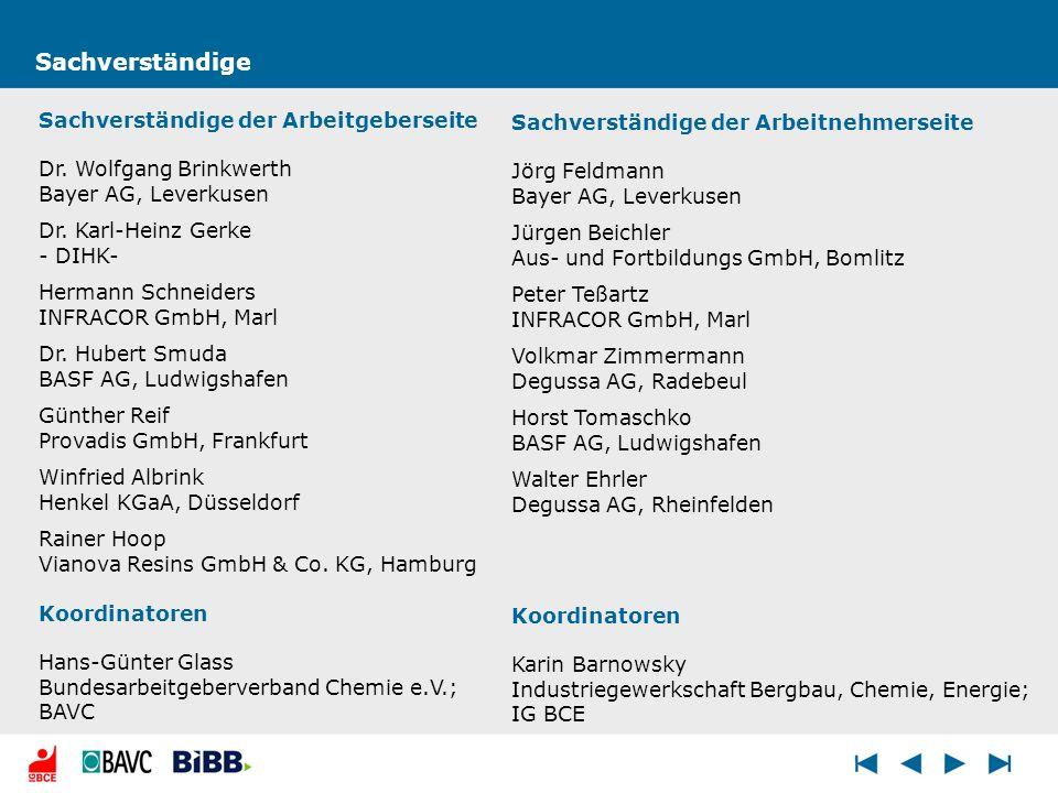 Sachverständige Sachverständige der Arbeitnehmerseite Jörg Feldmann Bayer AG, Leverkusen Jürgen Beichler Aus- und Fortbildungs GmbH, Bomlitz Peter Teß