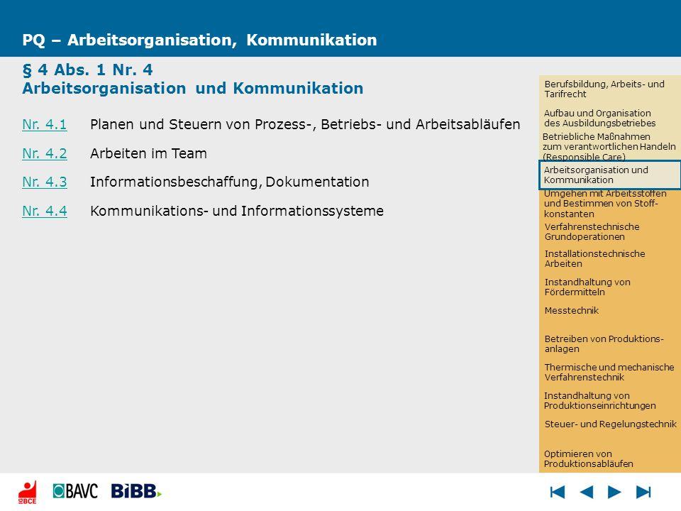 Umgehen mit Arbeitsstoffen und Bestimmen von Stoff- konstanten PQ – Arbeitsorganisation, Kommunikation § 4 Abs. 1 Nr. 4 Arbeitsorganisation und Kommun