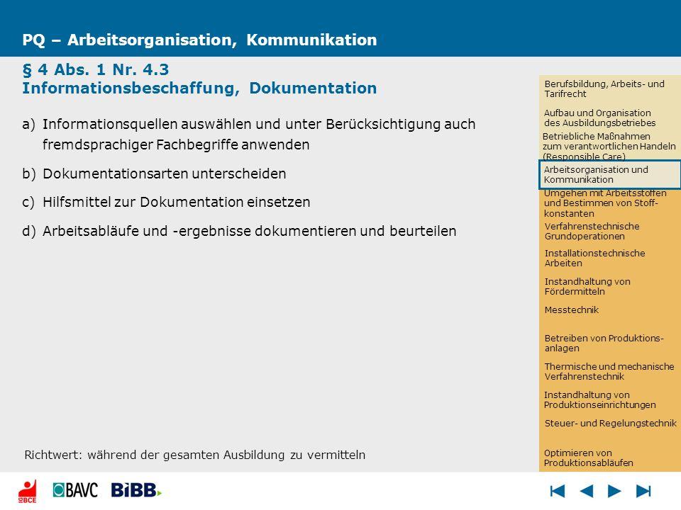 PQ – Arbeitsorganisation, Kommunikation § 4 Abs. 1 Nr. 4.3 Informationsbeschaffung, Dokumentation a)Informationsquellen auswählen und unter Berücksich