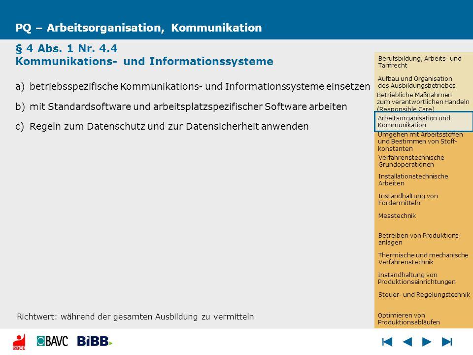 PQ – Arbeitsorganisation, Kommunikation § 4 Abs. 1 Nr. 4.4 Kommunikations- und Informationssysteme a)betriebsspezifische Kommunikations- und Informati