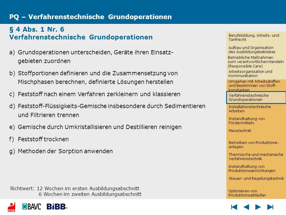 Installationstechnische Arbeiten PQ – Verfahrenstechnische Grundoperationen § 4 Abs. 1 Nr. 6 Verfahrenstechnische Grundoperationen a)Grundoperationen