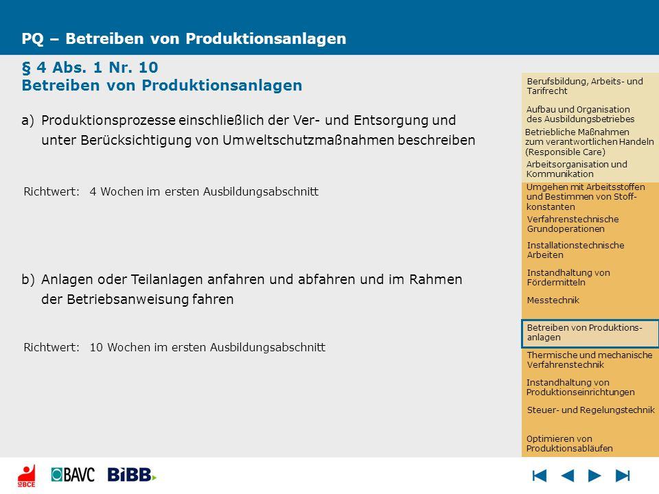 Thermische und mechanische Verfahrenstechnik PQ – Betreiben von Produktionsanlagen § 4 Abs. 1 Nr. 10 Betreiben von Produktionsanlagen a)Produktionspro