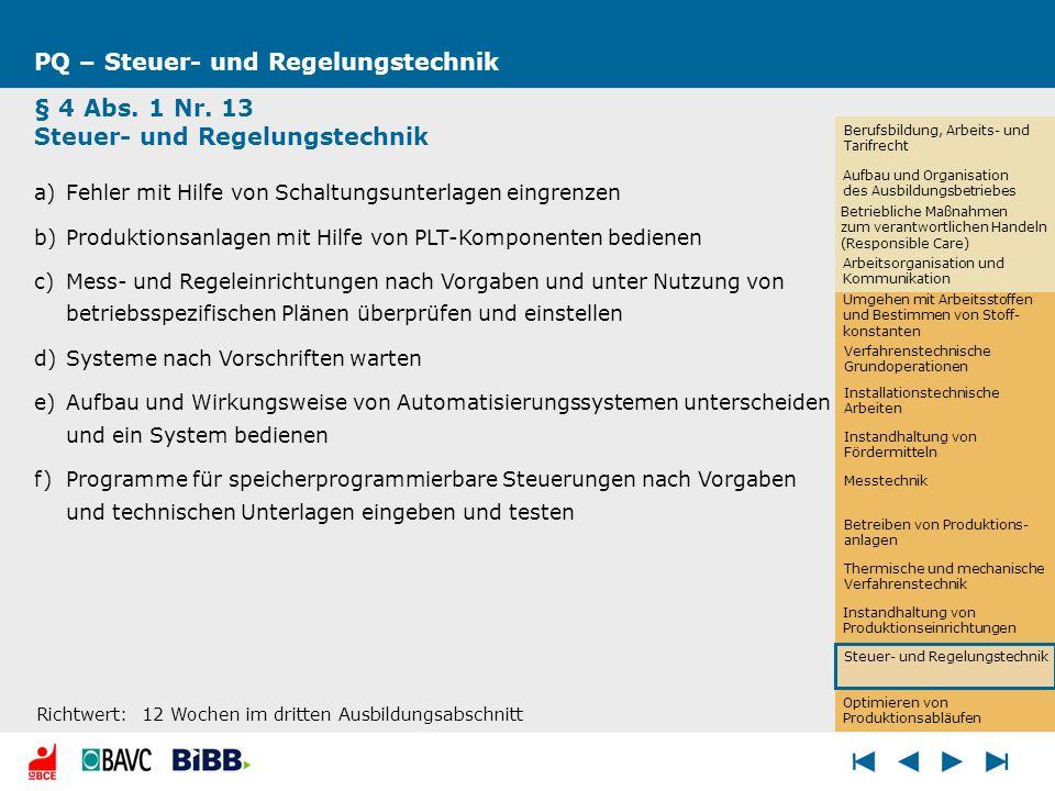 Optimieren von Produktionsabläufen PQ – Steuer- und Regelungstechnik § 4 Abs. 1 Nr. 13 Steuer- und Regelungstechnik a)Fehler mit Hilfe von Schaltungsu