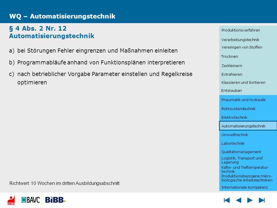 Umwelttechnik WQ – Automatisierungstechnik § 4 Abs. 2 Nr. 12 Automatisierungstechnik a)bei Störungen Fehler eingrenzen und Maßnahmen einleiten b)Progr