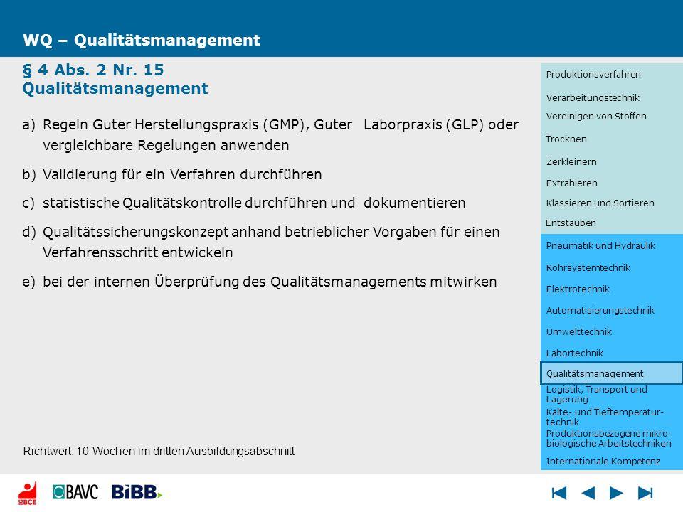 Logistik, Transport und Lagerung WQ – Qualitätsmanagement § 4 Abs. 2 Nr. 15 Qualitätsmanagement a)Regeln Guter Herstellungspraxis (GMP), Guter Laborpr