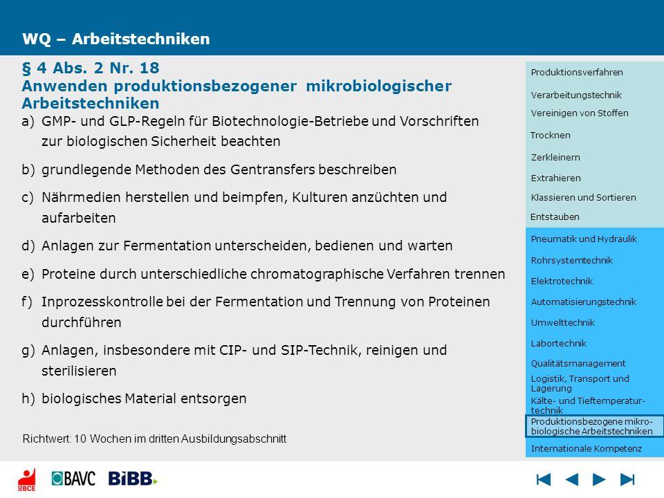 WQ – Arbeitstechniken § 4 Abs. 2 Nr. 18 Anwenden produktionsbezogener mikrobiologischer Arbeitstechniken a)GMP- und GLP-Regeln für Biotechnologie-Betr