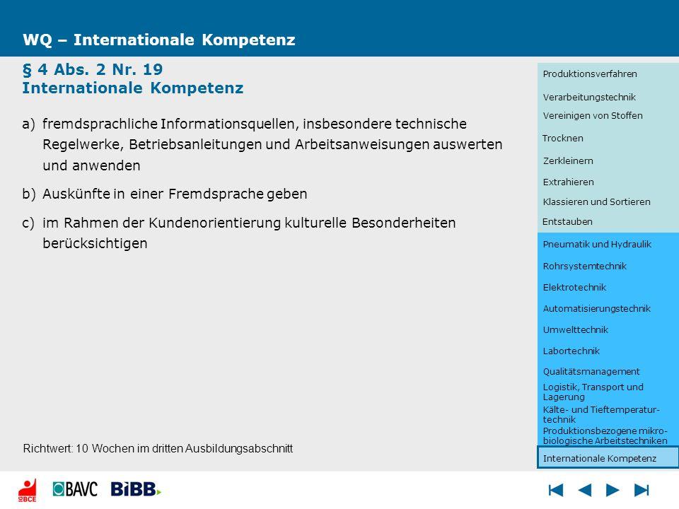 WQ – Internationale Kompetenz § 4 Abs. 2 Nr. 19 Internationale Kompetenz a)fremdsprachliche Informationsquellen, insbesondere technische Regelwerke, B