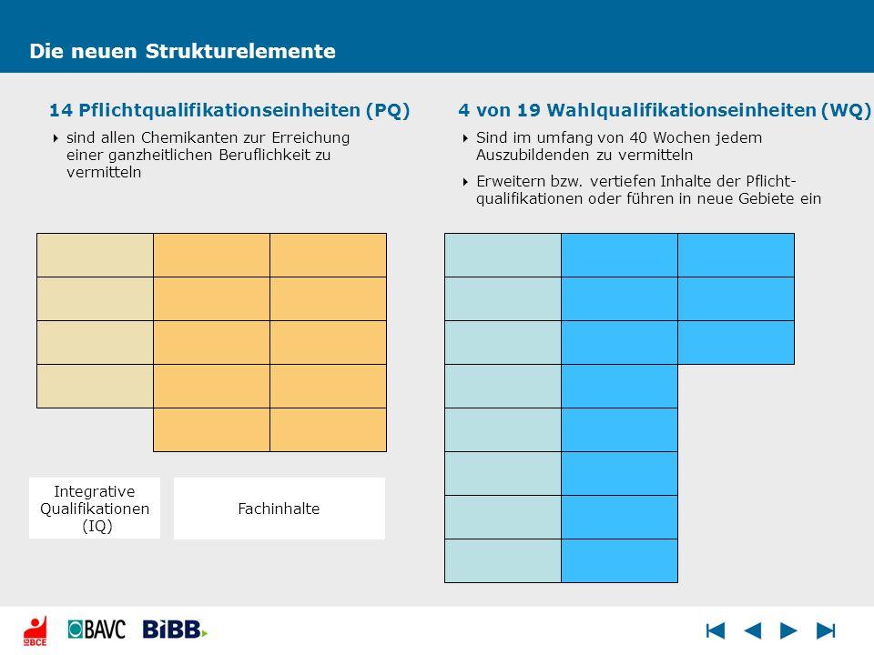Die neuen Strukturelemente 14 Pflichtqualifikationseinheiten (PQ) sind allen Chemikanten zur Erreichung einer ganzheitlichen Beruflichkeit zu vermitte