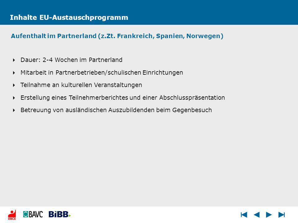 Inhalte EU-Austauschprogramm Aufenthalt im Partnerland (z.Zt.