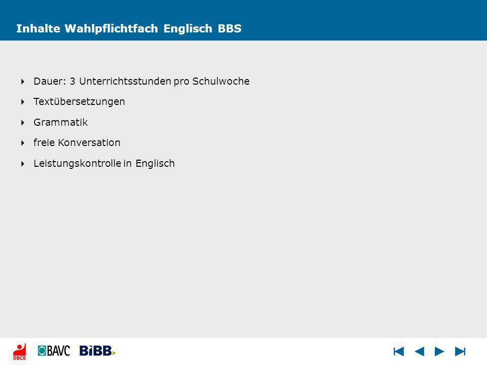 Inhalte Wahlpflichtfach Englisch BBS Dauer: 3 Unterrichtsstunden pro Schulwoche Textübersetzungen Grammatik freie Konversation Leistungskontrolle in Englisch