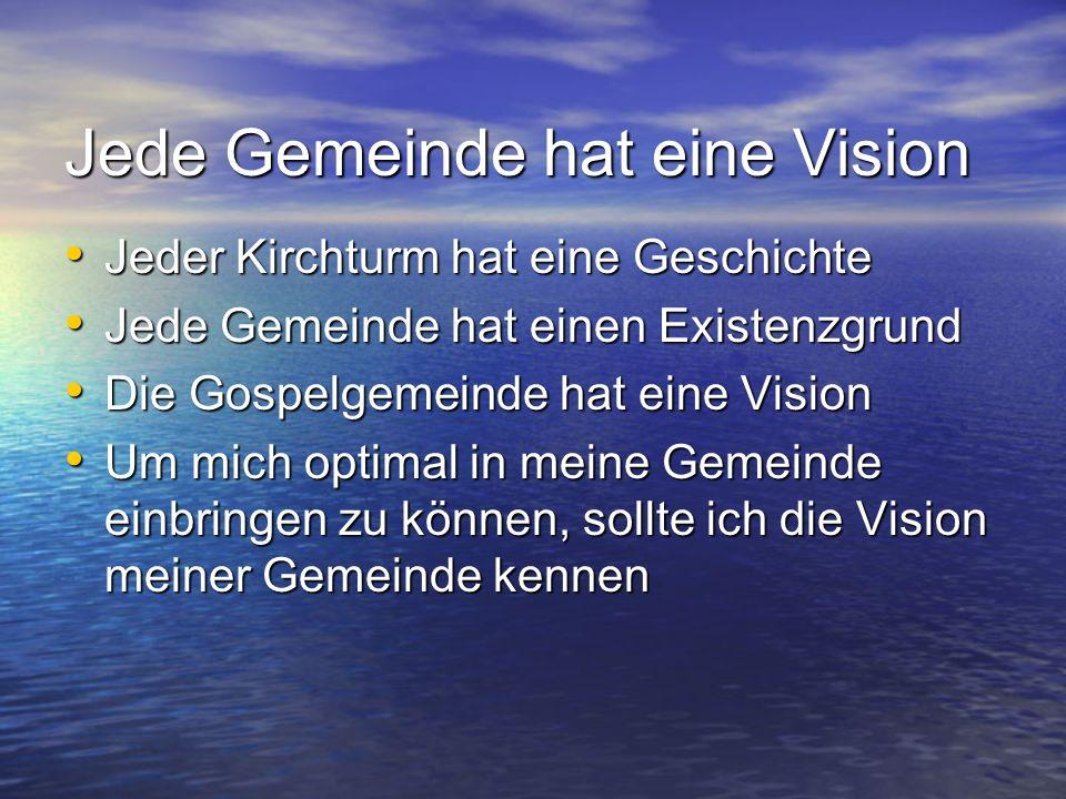 Jede Gemeinde hat eine Vision Jeder Kirchturm hat eine Geschichte Jeder Kirchturm hat eine Geschichte Jede Gemeinde hat einen Existenzgrund Jede Gemei