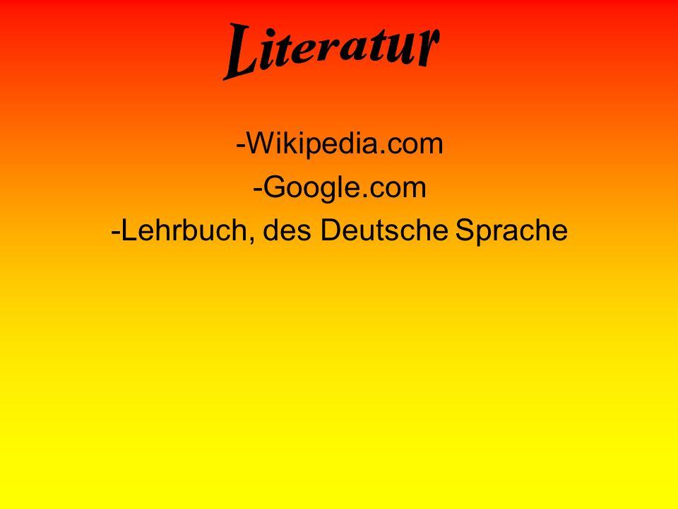 -Wikipedia.com -Google.com -Lehrbuch, des Deutsche Sprache
