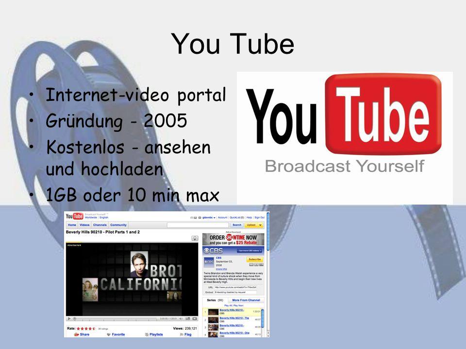 You Tube Internet-video portal Gründung - 2005 Kostenlos - ansehen und hochladen 1GB oder 10 min max