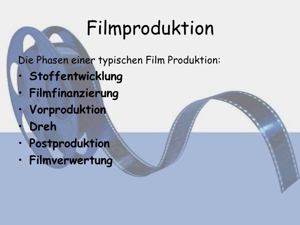 Filmproduktion Die Phasen einer typischen Film Produktion: Stoffentwicklung Filmfinanzierung Vorproduktion Dreh Postproduktion Filmverwertung