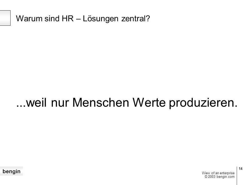 bengin 14 © 2003 bengin.com Wiew of an enterprise Warum sind HR – Lösungen zentral ...weil nur Menschen Werte produzieren.