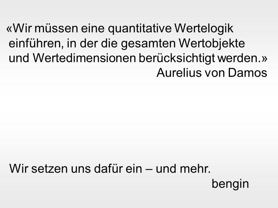 bengin 17 © 2003 bengin.com Wiew of an enterprise «Wir müssen eine quantitative Wertelogik einführen, in der die gesamten Wertobjekte und Wertedimensionen berücksichtigt werden.» Aurelius von Damos Wir setzen uns dafür ein – und mehr.