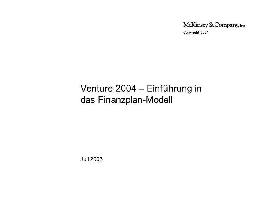 Copyright 2001 Juli 2003 Venture 2004 – Einführung in das Finanzplan-Modell