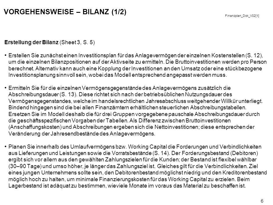 Finanzplan_Dok_V02[1] 6 VORGEHENSWEISE – BILANZ (1/2) Erstellung der Bilanz (Sheet 3, S.