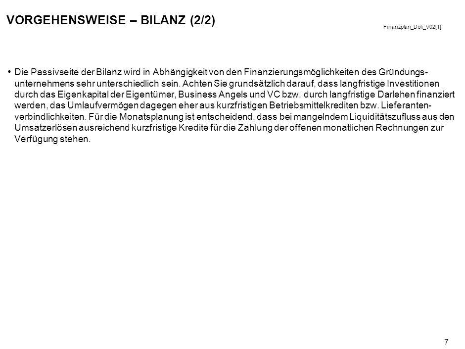 Finanzplan_Dok_V02[1] 7 VORGEHENSWEISE – BILANZ (2/2) Die Passivseite der Bilanz wird in Abhängigkeit von den Finanzierungsmöglichkeiten des Gründungs- unternehmens sehr unterschiedlich sein.
