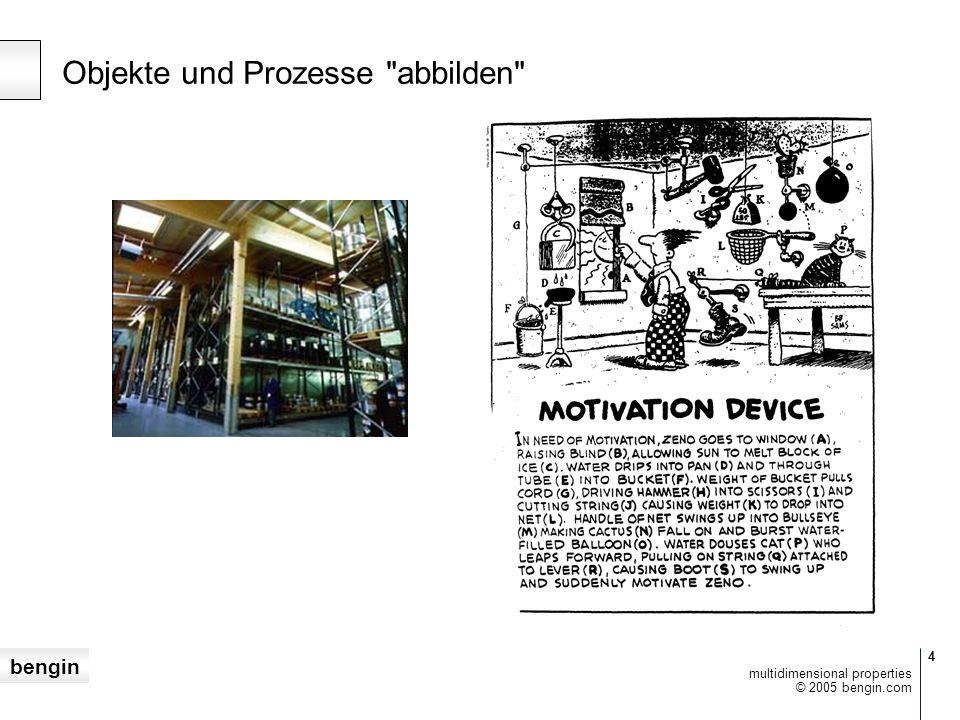 bengin 4 © 2005 bengin.com multidimensional properties Objekte und Prozesse abbilden