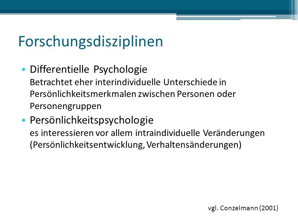 Forschungsdisziplinen Differentielle Psychologie Betrachtet eher interindividuelle Unterschiede in Persönlichkeitsmerkmalen zwischen Personen oder Personengruppen Persönlichkeitspsychologie es interessieren vor allem intraindividuelle Veränderungen (Persönlichkeitsentwicklung, Verhaltensänderungen) vgl.