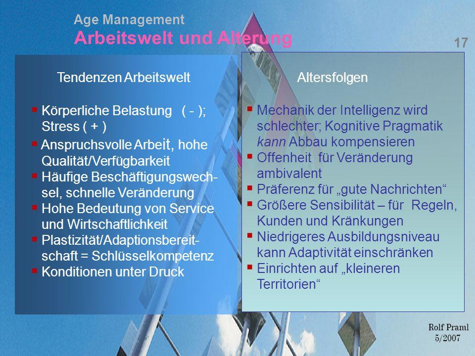 Age Management Arbeitswelt und Alterung 17 Rolf Praml 5/2007 Körperliche Belastung ( - ); Stress ( + ) Anspruchsvolle Arbe it, hohe Qualität/Verfügbar