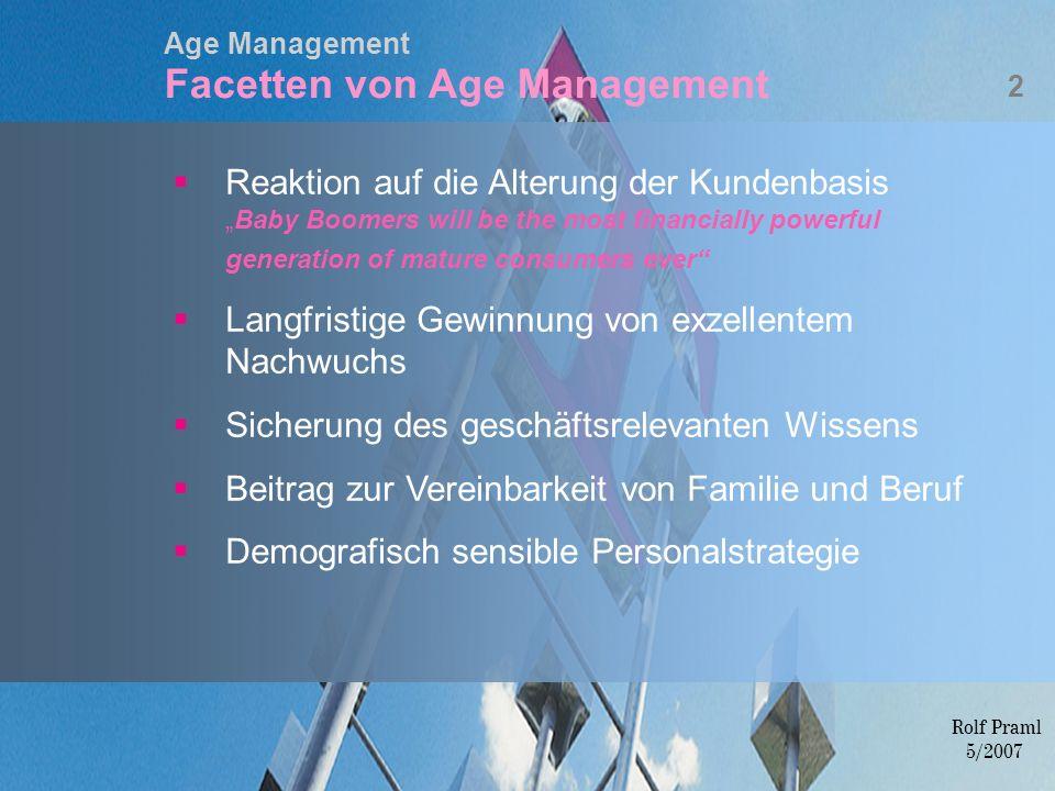 Age Management Facetten von Age Management Rolf Praml 5/2007 Reaktion auf die Alterung der KundenbasisBaby Boomers will be the most financially powerf