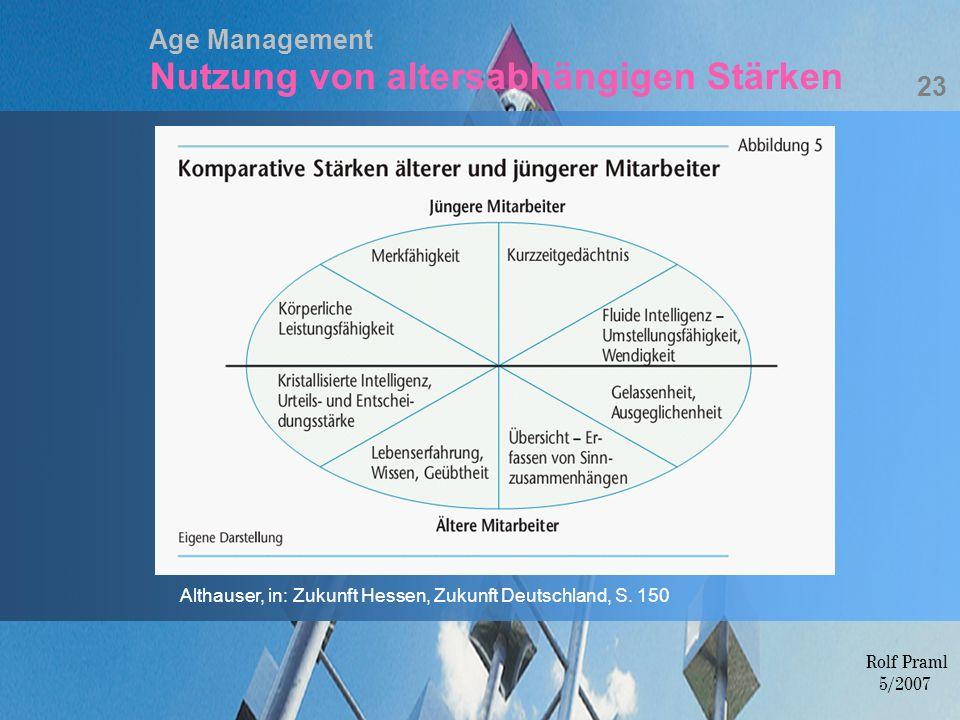 Age Management Nutzung von altersabhängigen Stärken 23 Althauser, in: Zukunft Hessen, Zukunft Deutschland, S. 150 Rolf Praml 5/2007