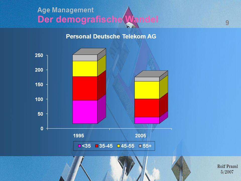 Age Management Der demografische Wandel Personal Deutsche Telekom AG 9 Rolf Praml 5/2007