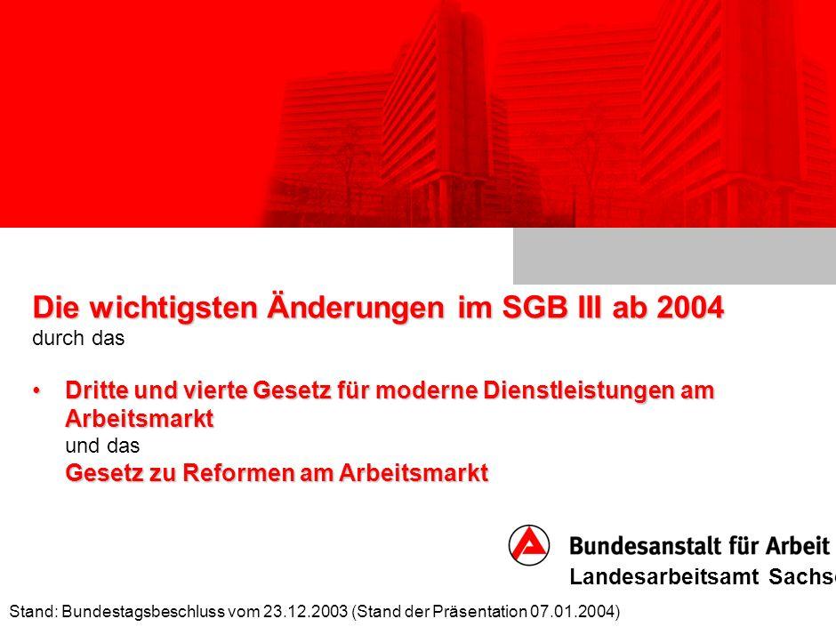 die Änderungen des SGB III ab 2004 Stand: Bundestagsbeschluss vom 23.12.2003 (Stand der Präsentation 07.01.2004) Landesarbeitsamt Sachsen 30 Erstattungspflicht des AG bei Älteren Erstattungspflicht des AG bei Älteren (§ 147a SGB III) * AltersgrenzeKeine Erstattung bei Beendigung des Arbeitsver- hältnisses vor dem _ Lj.