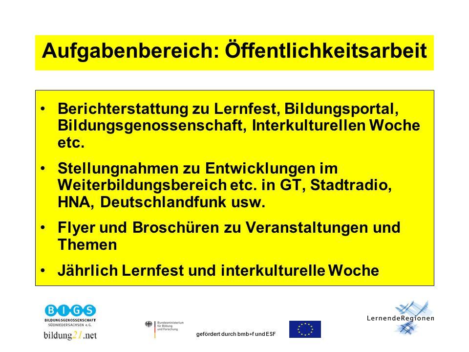 gefördert durch bmb+f und ESF Aufgabenbereich: Öffentlichkeitsarbeit Berichterstattung zu Lernfest, Bildungsportal, Bildungsgenossenschaft, Interkulturellen Woche etc.