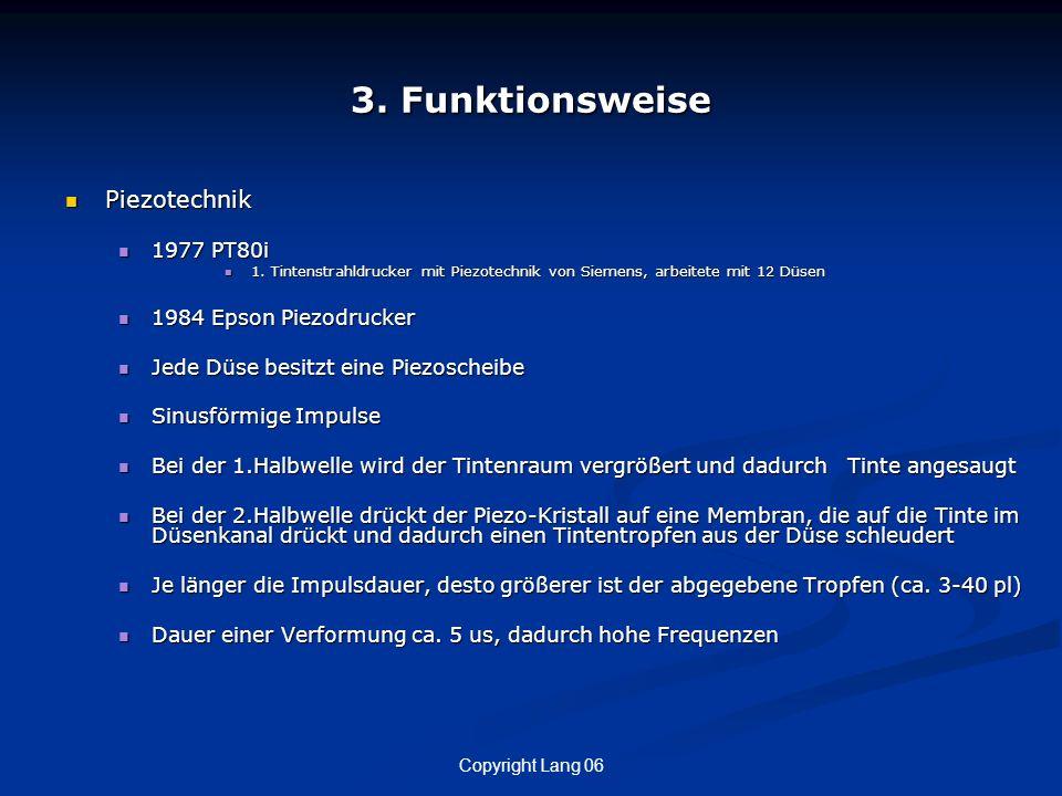 Copyright Lang 06 3. Funktionsweise Piezotechnik Piezotechnik 1977 PT80i 1977 PT80i 1. Tintenstrahldrucker mit Piezotechnik von Siemens, arbeitete mit
