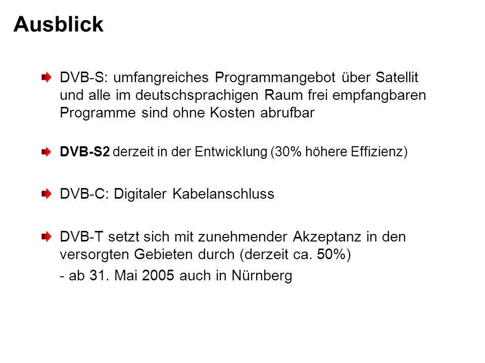 Ausblick DVB-S: umfangreiches Programmangebot über Satellit und alle im deutschsprachigen Raum frei empfangbaren Programme sind ohne Kosten abrufbar D