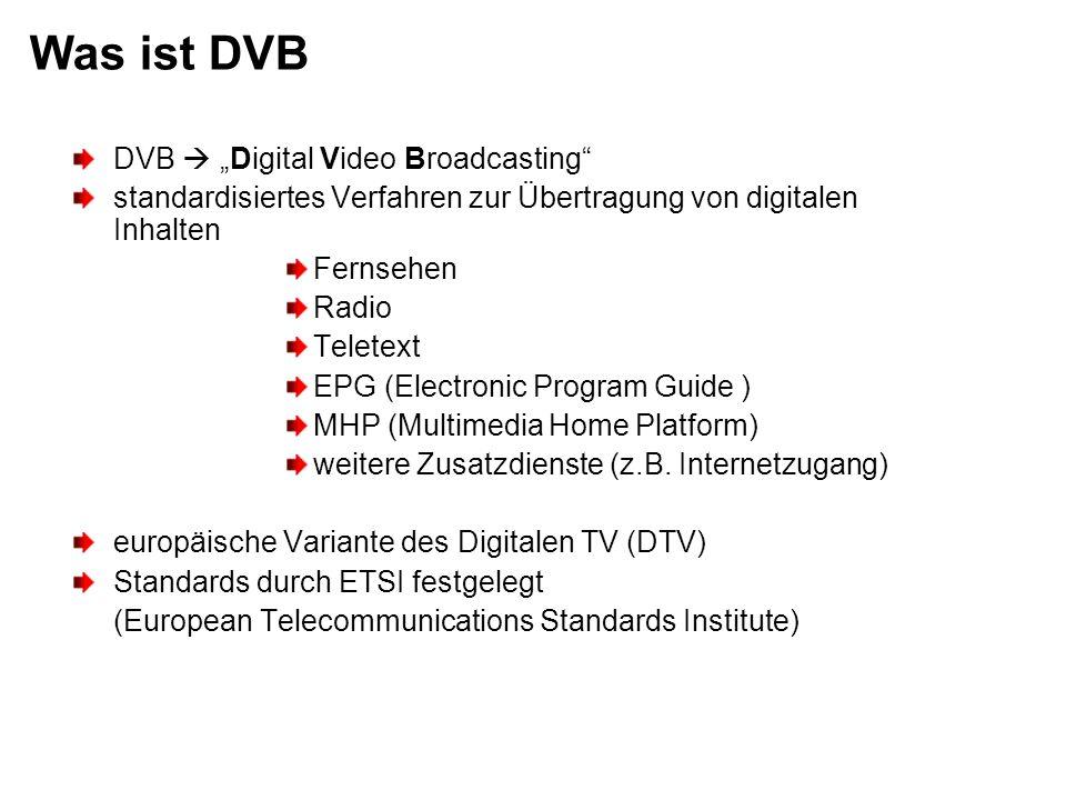 Was ist DVB DVB Digital Video Broadcasting standardisiertes Verfahren zur Übertragung von digitalen Inhalten Fernsehen Radio Teletext EPG (Electronic