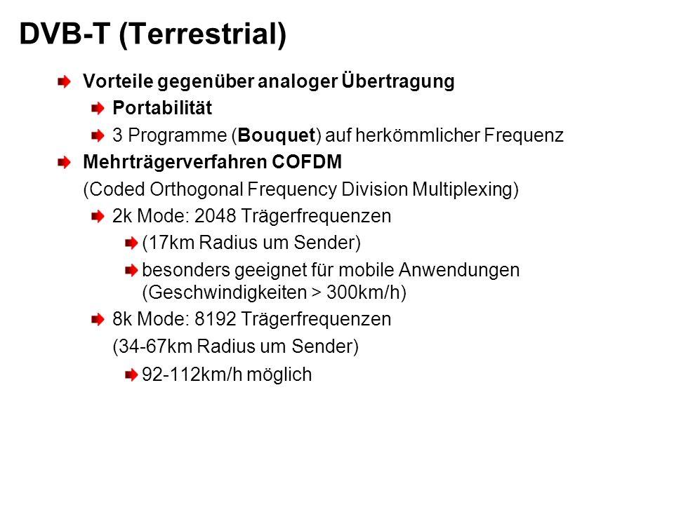 DVB-T (Terrestrial) Vorteile gegenüber analoger Übertragung Portabilität 3 Programme (Bouquet) auf herkömmlicher Frequenz Mehrträgerverfahren COFDM (C