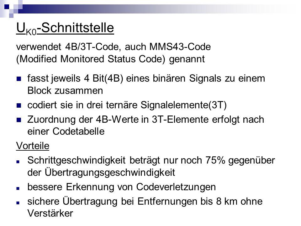 U K0 -Schnittstelle verwendet 4B/3T-Code, auch MMS43-Code (Modified Monitored Status Code) genannt fasst jeweils 4 Bit(4B) eines binären Signals zu ei