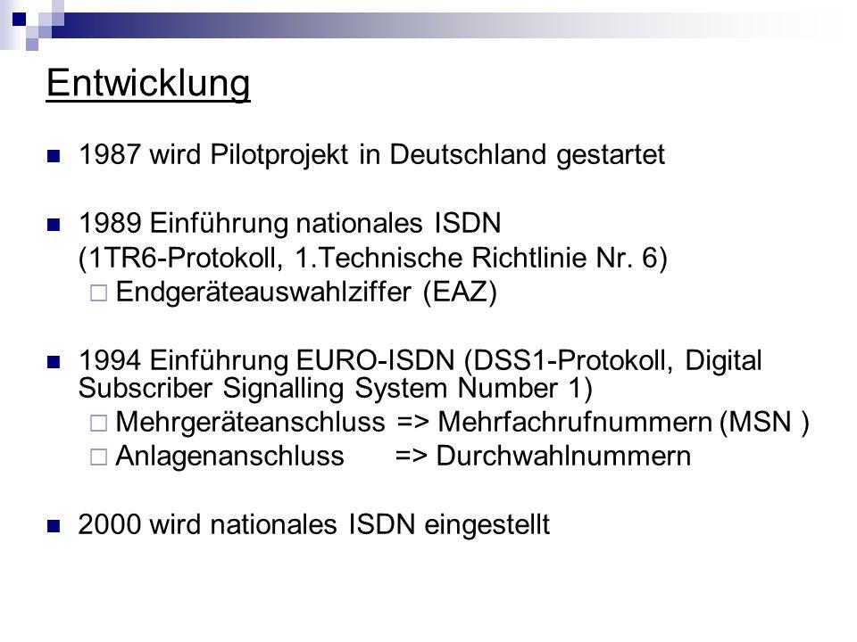 Entwicklung 1987 wird Pilotprojekt in Deutschland gestartet 1989 Einführung nationales ISDN (1TR6-Protokoll, 1.Technische Richtlinie Nr. 6) Endgerätea