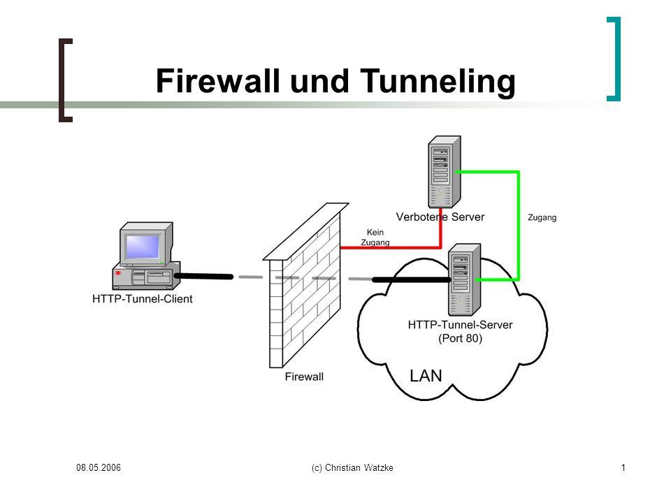 08.05.2006(c) Christian Watzke2 Inhalt Grundlagen Firewall-Systeme Netzwerk-Firewall Host-Firewall (Personal Firewall) Komponenten einer Firewall Paketfilter (Content-Filter) Proxy DMZ