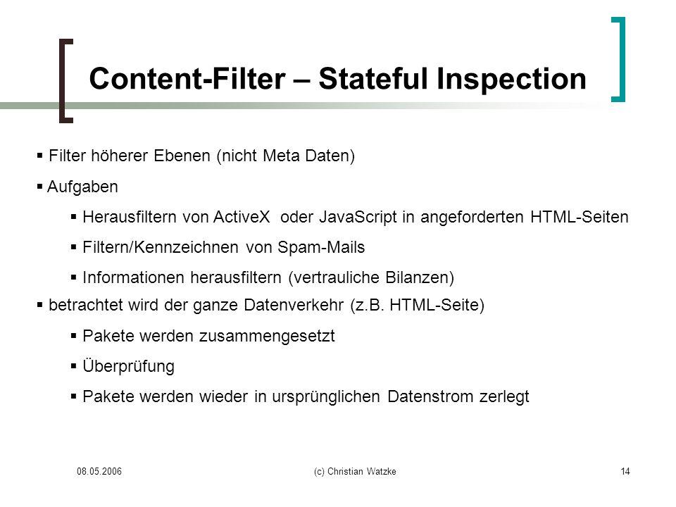 08.05.2006(c) Christian Watzke14 Content-Filter – Stateful Inspection Filter höherer Ebenen (nicht Meta Daten) Aufgaben Herausfiltern von ActiveX oder