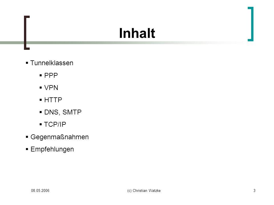 08.05.2006(c) Christian Watzke3 Inhalt Tunnelklassen PPP VPN HTTP DNS, SMTP TCP/IP Gegenmaßnahmen Empfehlungen