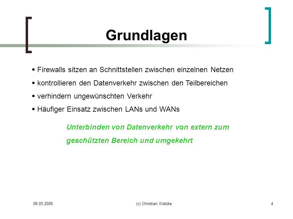 08.05.2006(c) Christian Watzke4 Grundlagen Firewalls sitzen an Schnittstellen zwischen einzelnen Netzen kontrollieren den Datenverkehr zwischen den Te