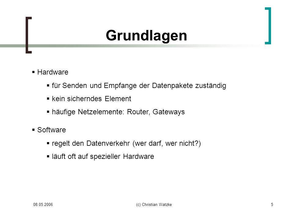 08.05.2006(c) Christian Watzke16 DMZ Demilitarized Zone Zone zwischen geschützten Netz und Internet Wird von zwei Firewallsystemen abgeschirmt Internetdienste wie z.B.