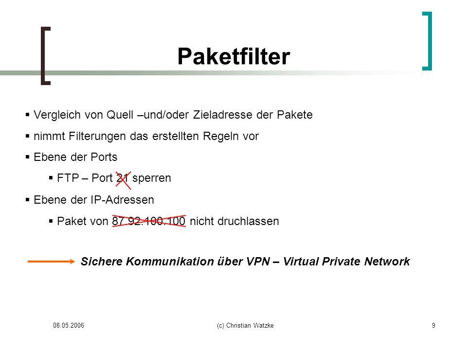 08.05.2006(c) Christian Watzke9 Paketfilter Vergleich von Quell –und/oder Zieladresse der Pakete nimmt Filterungen das erstellten Regeln vor Ebene der