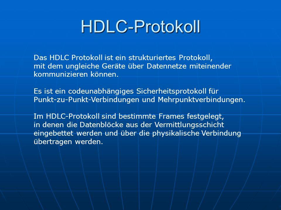 HDLC-Protokoll Das HDLC Protokoll ist ein strukturiertes Protokoll, mit dem ungleiche Geräte über Datennetze miteinender kommunizieren können. Es ist