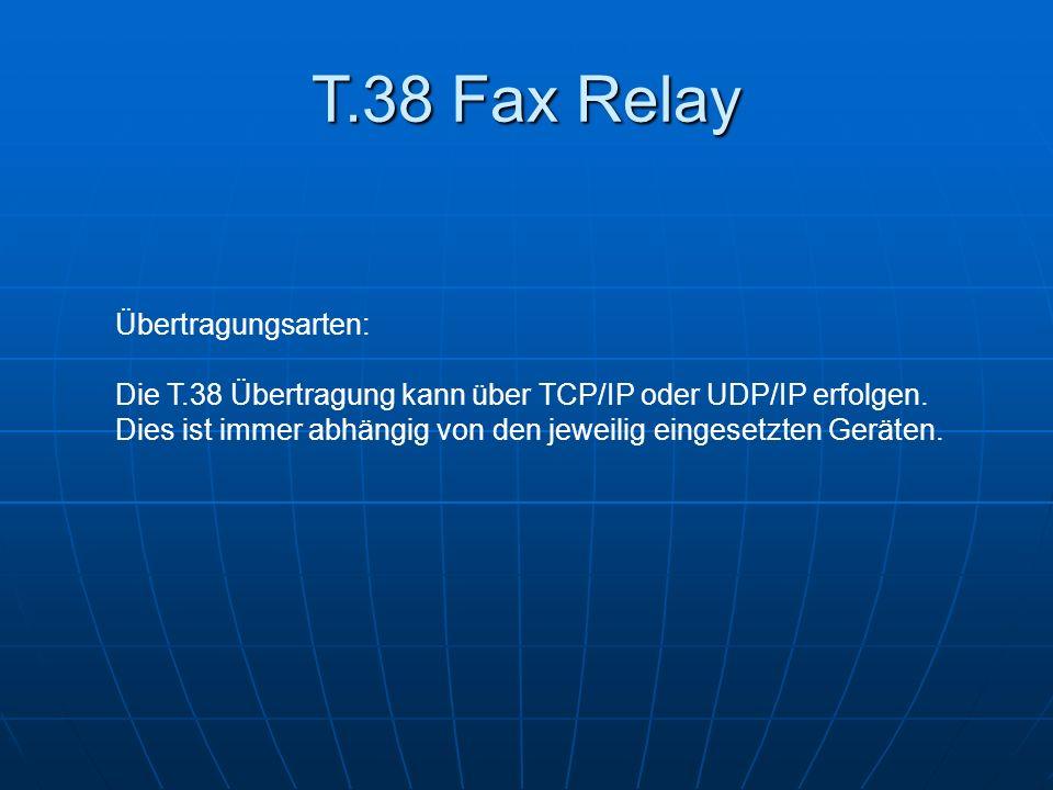 T.38 Fax Relay Übertragungsarten: Die T.38 Übertragung kann über TCP/IP oder UDP/IP erfolgen. Dies ist immer abhängig von den jeweilig eingesetzten Ge
