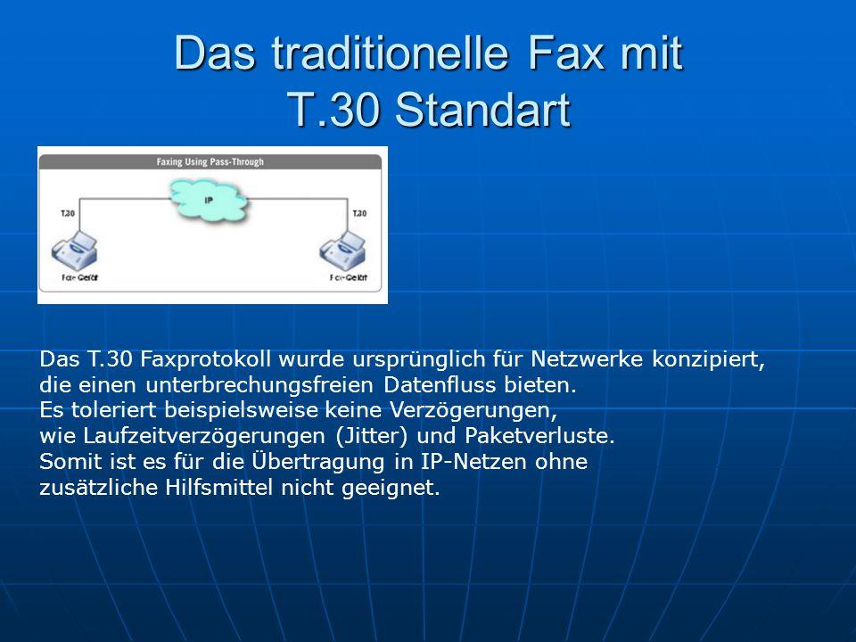 Das traditionelle Fax mit T.30 Standart Das T.30 Faxprotokoll wurde ursprünglich für Netzwerke konzipiert, die einen unterbrechungsfreien Datenfluss b